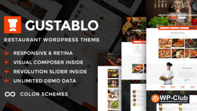 Фото Gustablo 1.10 — ресторан и кафе отзывчивая тема WordPress
