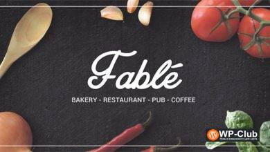 Фото Fable 1.2.4 — WordPress тема ресторан, пекарня, кафе, паб
