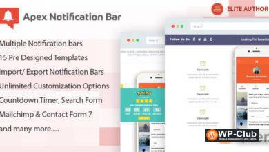 Фото Apex Notification Bar 2.1.5 — Адаптивный плагин панели уведомлений для WordPress