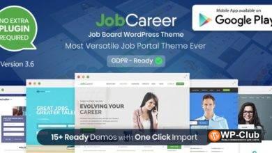 Фото JobCareer 3.8 — доска обьявлений/каталог/работа шаблон WordPress