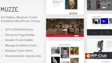 Фото Muzze 1.3.0 — WordPress тема для художественных галерей, музеев, выставок и мероприятий